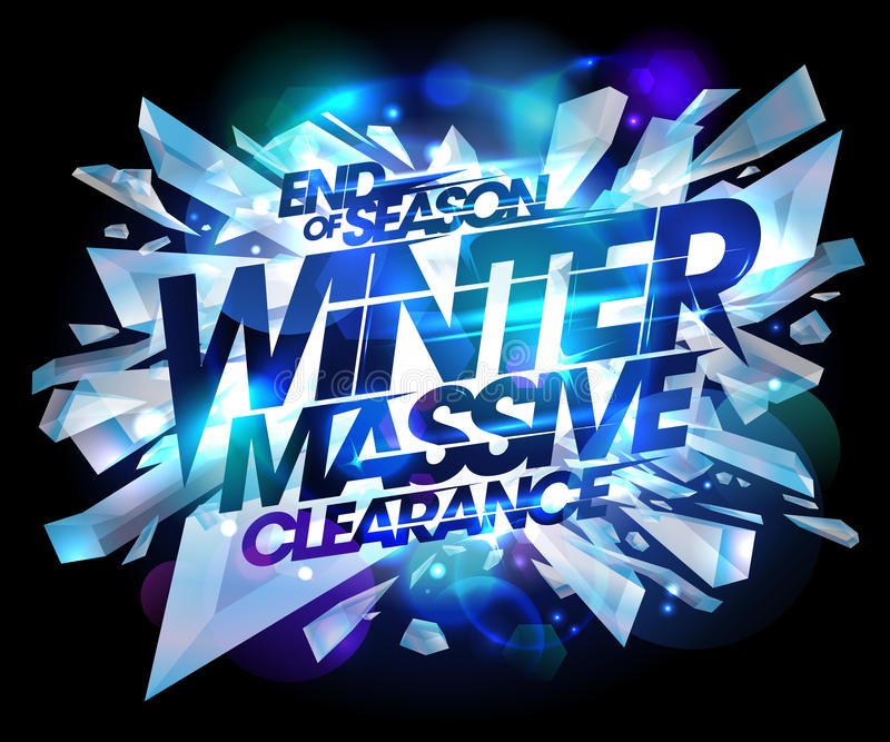 Winter massive clearance sale design, end of season advertising banner. Winter massive clearance sale design, end of season, advertising banner with explosion royalty free illustration