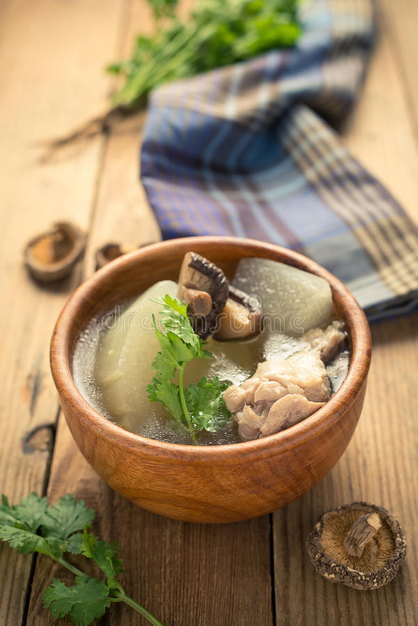 Winter melon soup. With chicken and mushroom royalty free stock photos