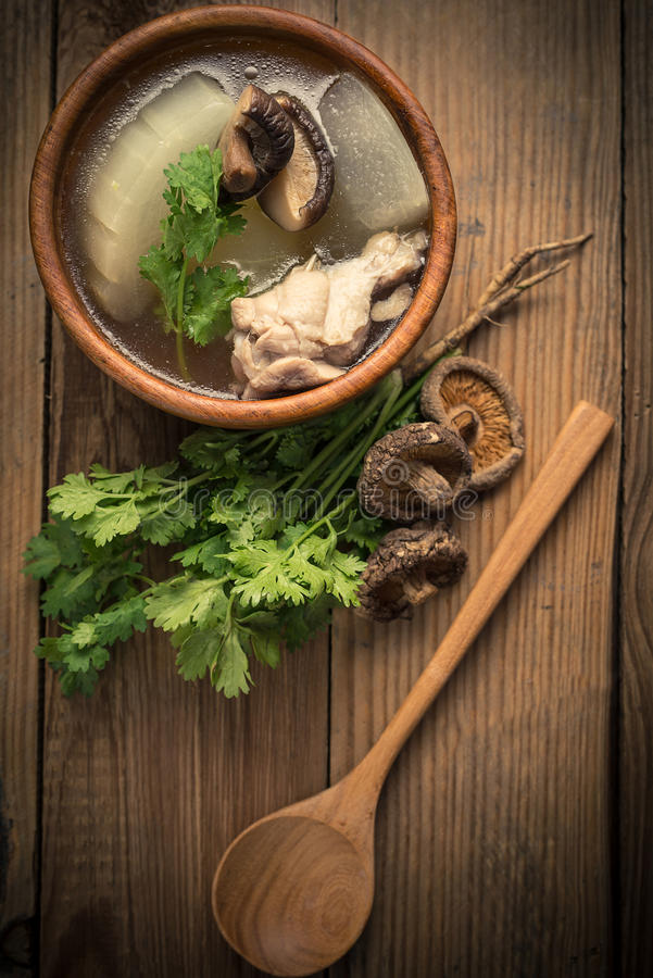 Winter melon soup. With chicken and mushroom stock photo