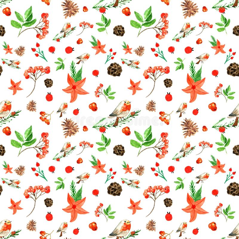 Winter Merry Christmas seamless background with bullfinch, red flowers, rowan berries, pine cones. Winter Christmas and New Year`s seamless pattern with royalty free illustration