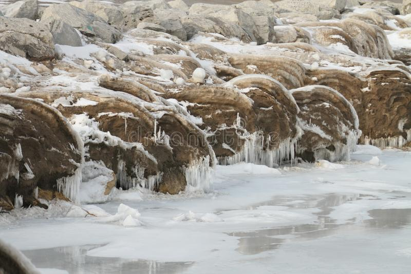 Winter am Michigansee, WI stockbilder