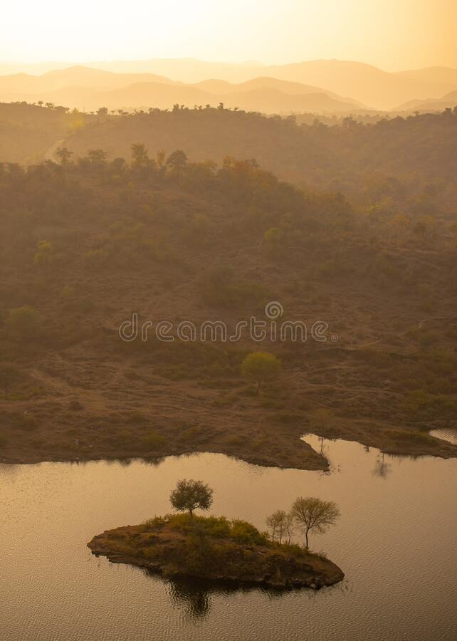 Winter mist forest area covered with fog at badi lake, Udaipur, India royalty free stock photography