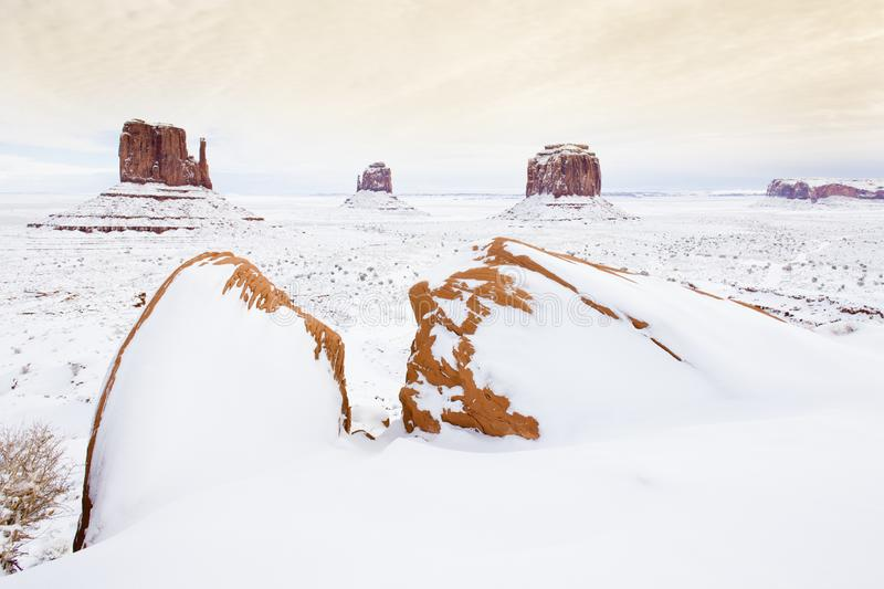 Winter The Mittens and Merrick Butte, Monument Valley National P. Ark, Utah-Arizona, USA, outdoor, outside, exteriors, america, north, united, states, southwest royalty free stock photography