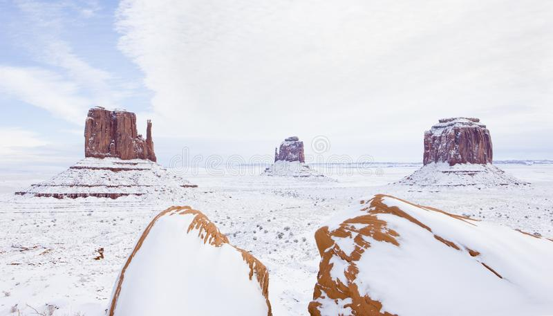 Winter The Mittens and Merrick Butte, Monument Valley National P. Ark, Utah-Arizona, USA, outdoor, outside, exteriors, america, north, united, states, southwest royalty free stock images