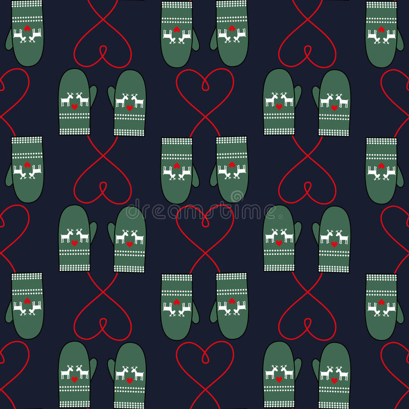 Winter mittens seamless pattern with hearts for xmas holiday. Cute christmas background. Winter mood illustration stock illustration