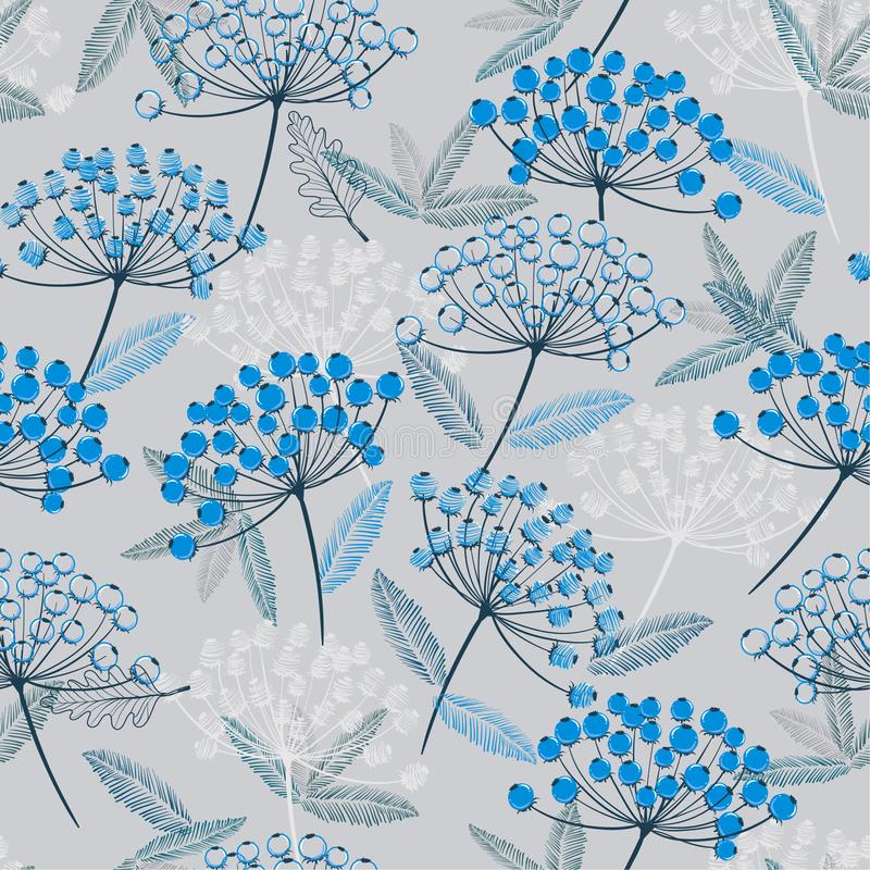 Winter monotone blue Hand drawn seamless vector pattern. Fall/winter line flowers and blue berries design for. Fashion,fabric.wallpaper and all prints on light stock illustration