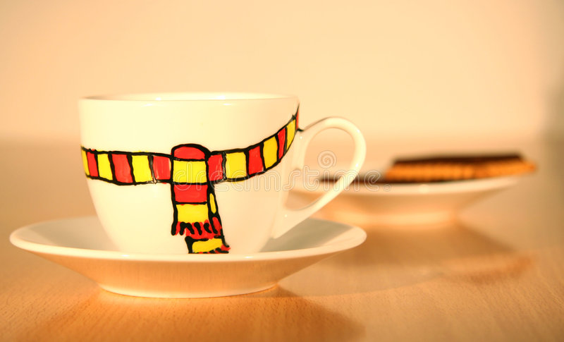 Winter mood in coffee cup stock photos