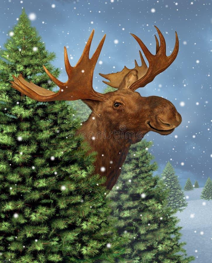 Free Winter Moose Royalty Free Stock Image - 34017416