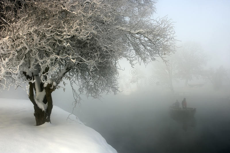 Download Winter morning stock photo. Image of river, wooden, mist - 16072878