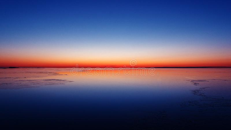 Winter morning in Baltic Sea. Nature color. Beatiful sunrise. royalty free stock images