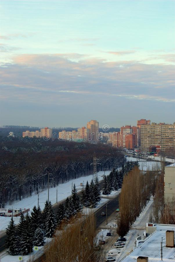 Winter morning in the Central District of Togliatti with a panoramic view of residential buildings. royalty free stock images