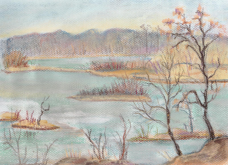 Download The frozen lake stock illustration. Image of drawing - 29750619