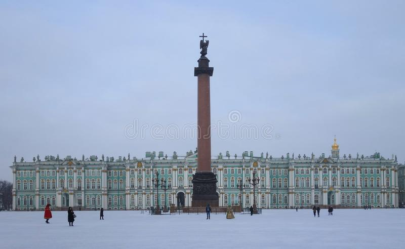 Winter morning at the Palace Square. Snow and winter morning at the Palace Square in St. Petersburg stock photos