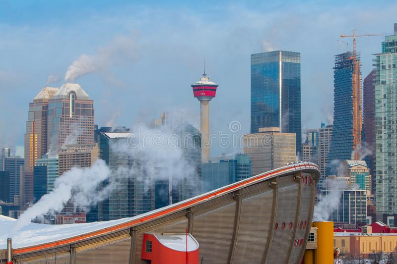 Winter morning at the smoky Calgary, Travel Alberta, Canada, Nort America, Arctic winter, extreme weather, covered under snow royalty free stock photo