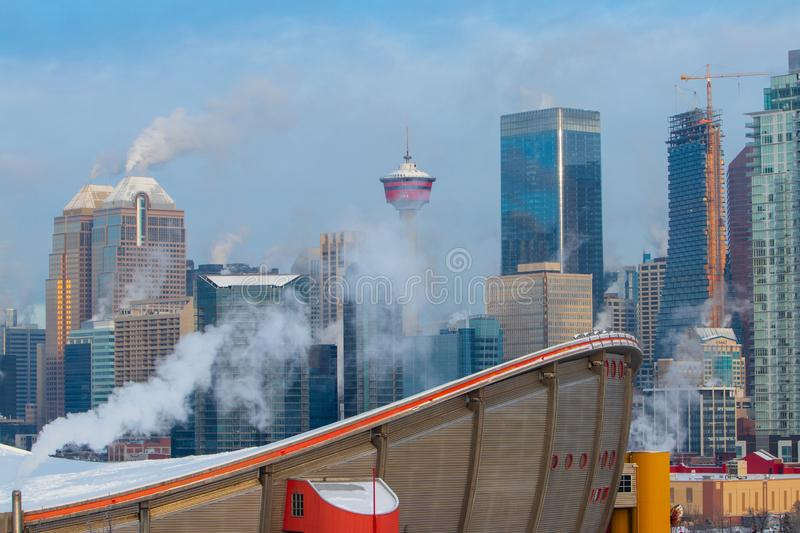 Winter morning at the smoky Calgary, Travel Alberta, Canada, Nort America, Arctic winter, extreme weather, covered under snow royalty free stock image