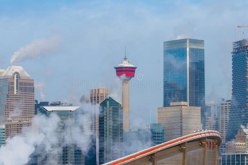 Winter morning at the smoky Calgary, Travel Alberta, Canada, Nort America, Arctic winter, extreme weather, covered under snow stock images