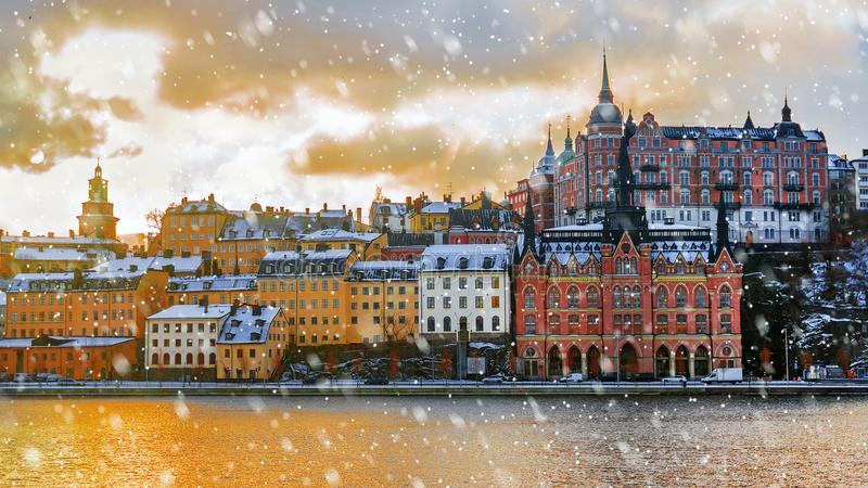 Winter morning in Stockholm, Sweden royalty free stock images