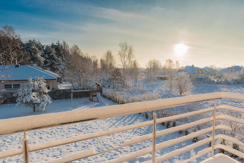Winter morning, view on backyard from a balcony stock photos