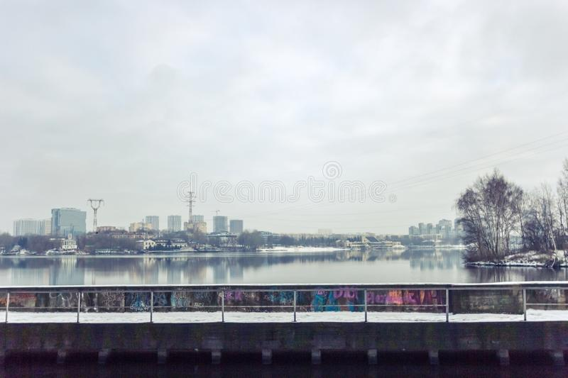 Moscow canal in winter, Russia, Moscow royalty free stock photography
