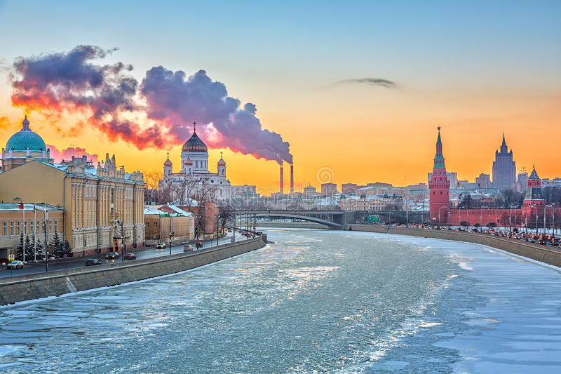 Winter in Moscow stock photography
