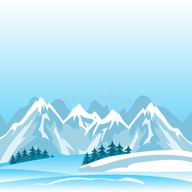 Winter in mountain vector illustration