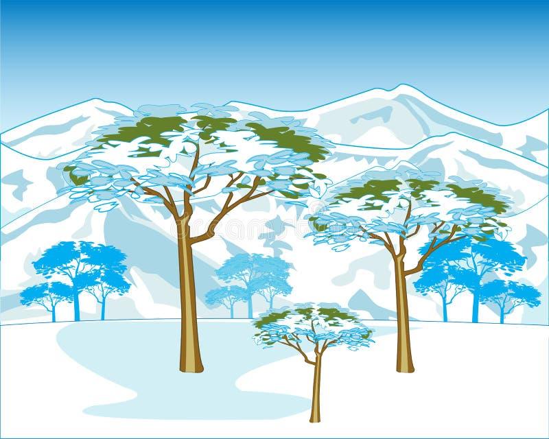 Winter in mountain stock illustration