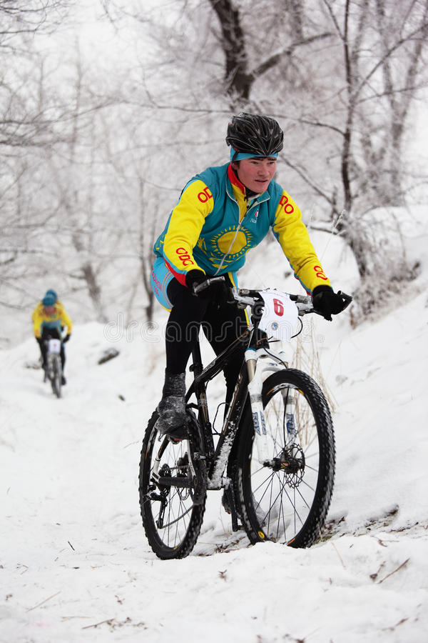 Winter Mountain Bike Competition Editorial Image