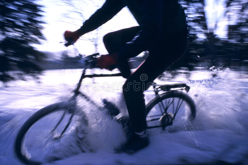 Winter Mountain Bike Riding royalty free stock photos