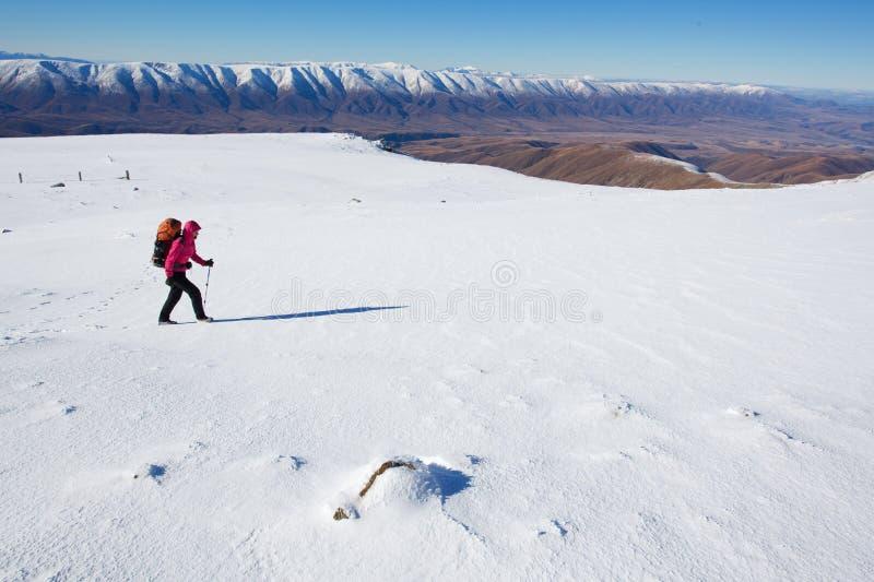 Winter Mountain Hiking Royalty Free Stock Photos