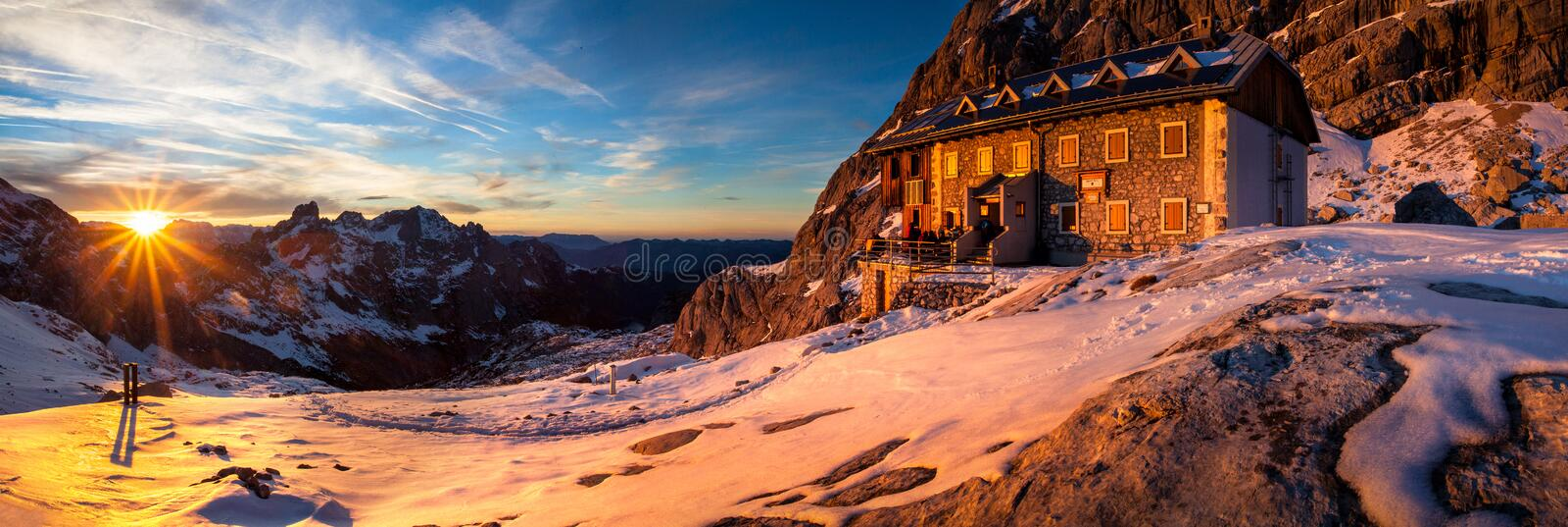 Winter Mountain Hut Stock Photos
