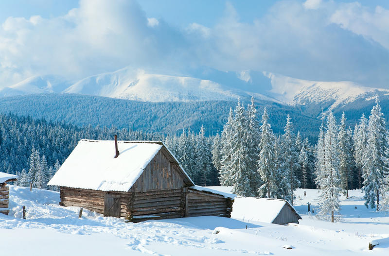 Download Winter mountain landscape stock image. Image of barn - 13937559