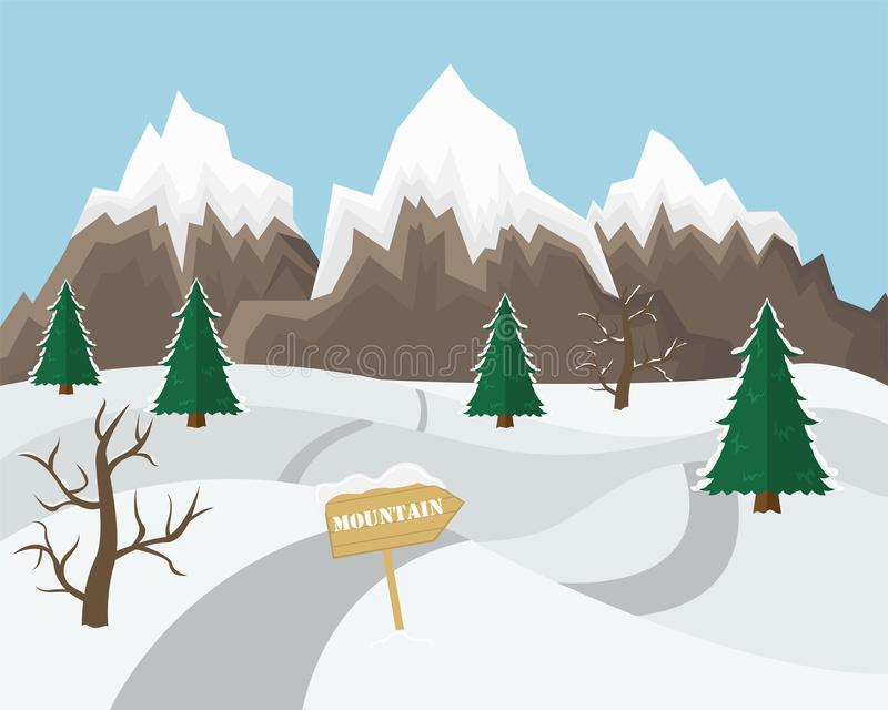 Winter mountain landscape background. Flat Vector Illustration. Winter mountain landscape background. Flat Vector Illustration royalty free illustration