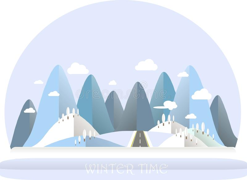 Winter mountain landscape. Blue and white hills, sky, clouds, tree. Flat design. Stock vector illustration vector illustration