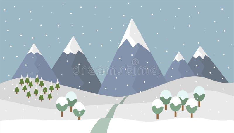 Winter mountain landscape vector illustration
