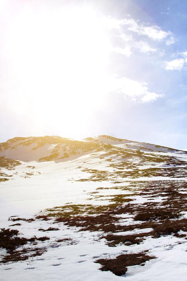 Winter mountain landscape on a clear and sunny day. Crimea. Winter mountain landscape on a clear and sunny day. Snow hills. Mount Chatyr-Dag, Eklizi-Burun stock photography