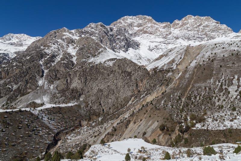 Winter mountain landscape. Close to Arslanbob, Kyrgyzstan stock photos