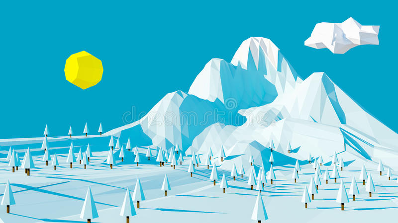 Winter mountain landscape stock illustration
