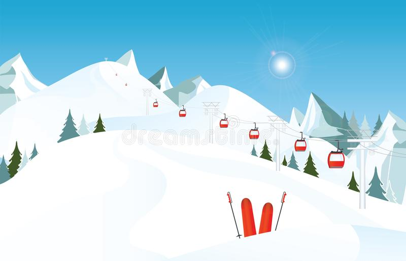Winter mountain landscape with pair of skis in snow and ski lift vector illustration