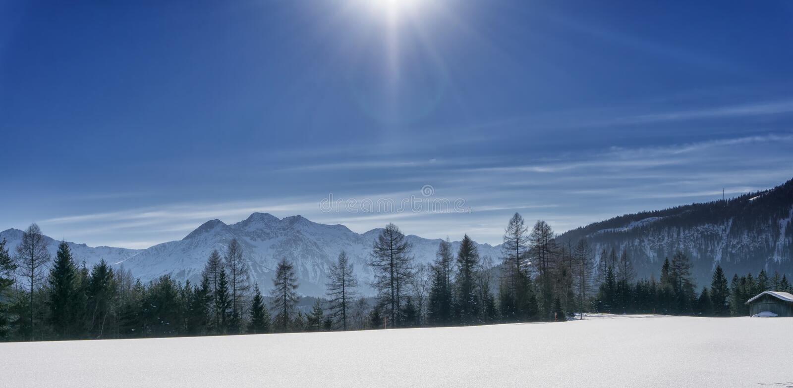 Winter mountain landscape - panoramic view stock photography