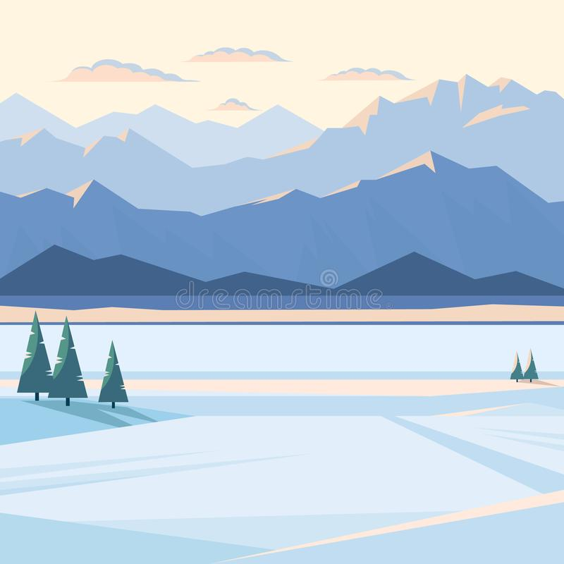 Winter mountain landscape with snow and illuminated mountain peaks, river, fir tree, plain, sunset. royalty free illustration