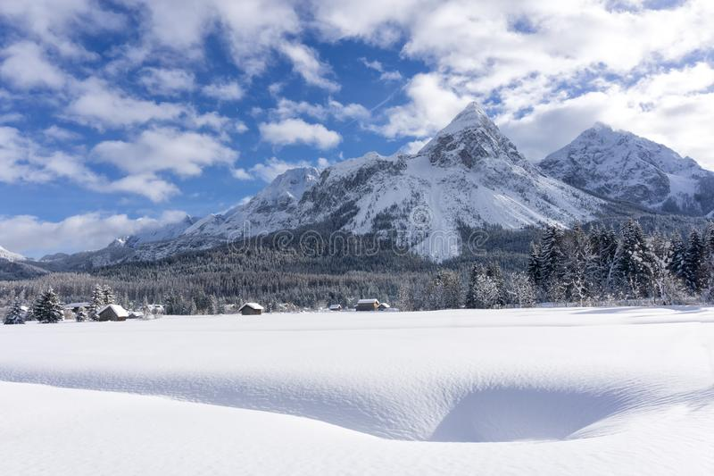 Winter mountain landscape with valley covered of fresh snow stock image