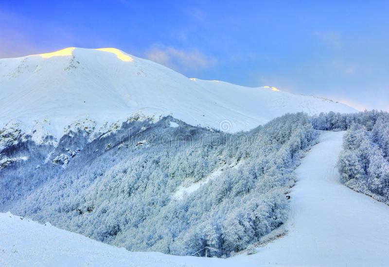 Winter mountain landscape view stock image