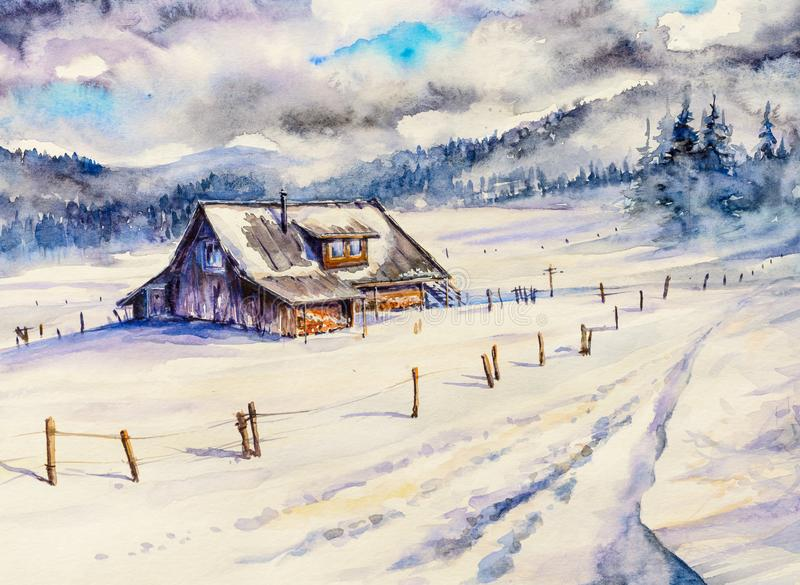 Winter mountain landscape with wooden house and cloudy sky. stock illustration