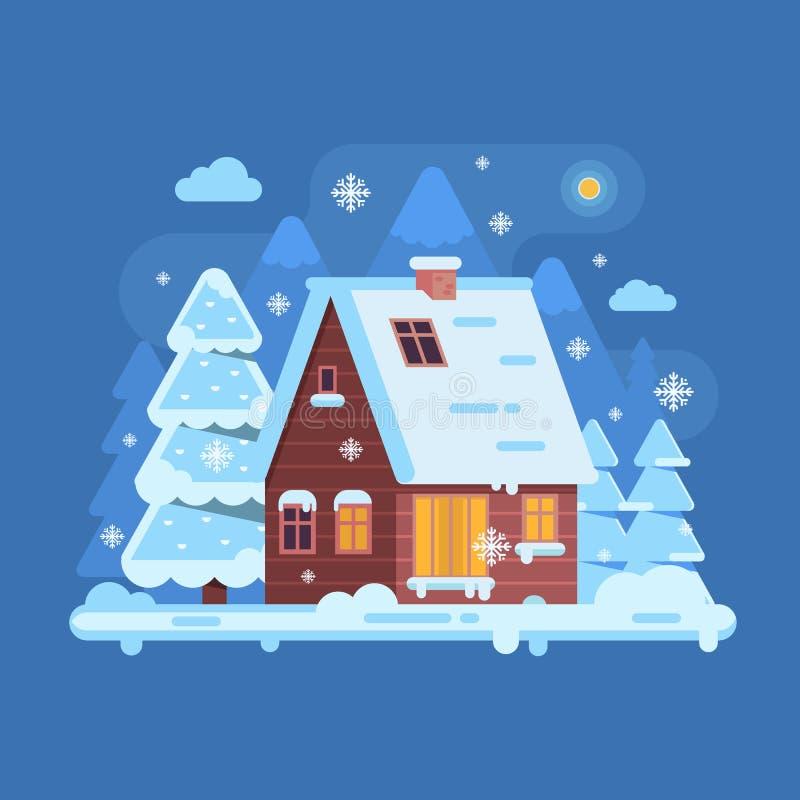 Winter Mountain Log Cabin vector illustration