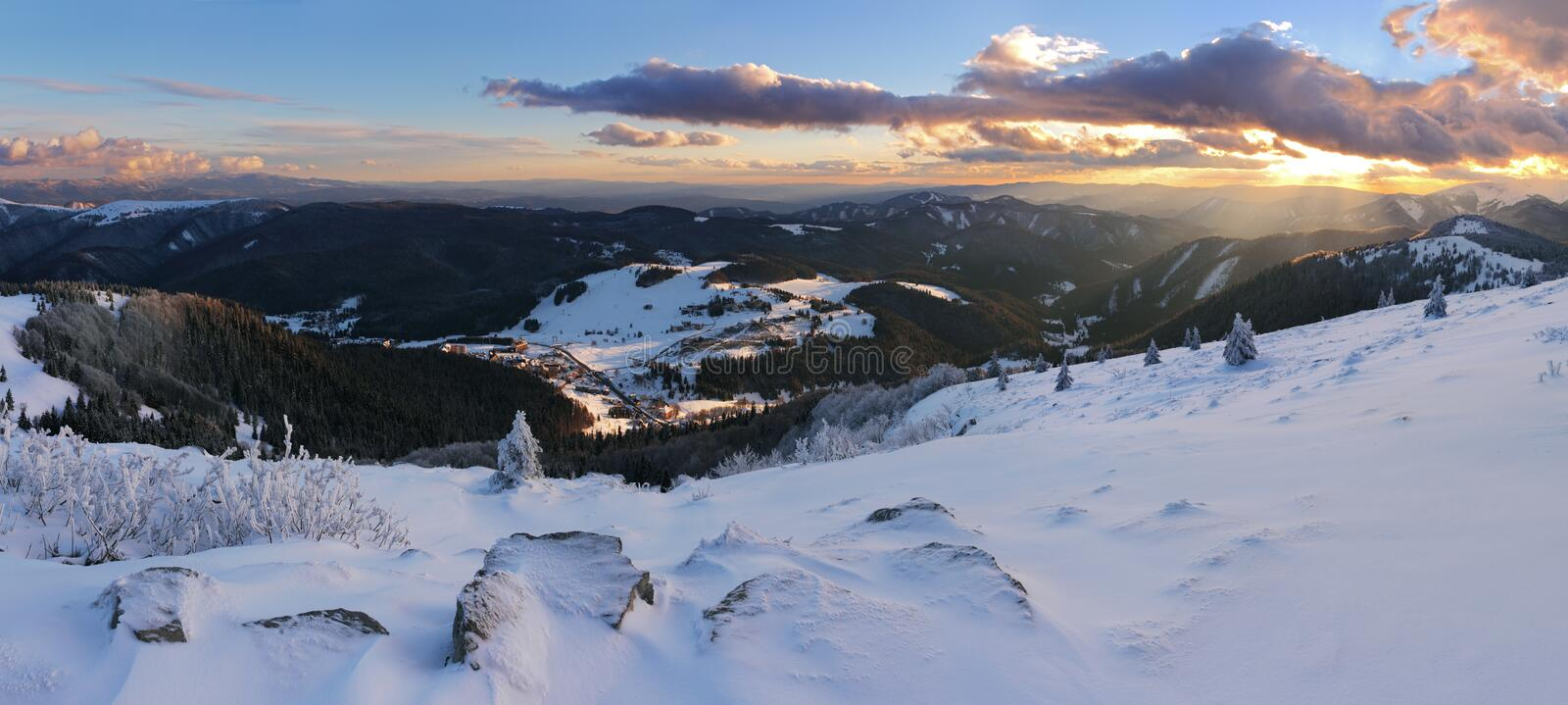 Winter mountain panorama - Donovaly. At sunset royalty free stock photos