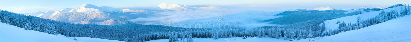 Winter mountain panorama landscape. Morning winter calm mountain panorama with sheds group and mount ridge behind (Carpathian Mountains, Ukraine). Nine shots stock photos