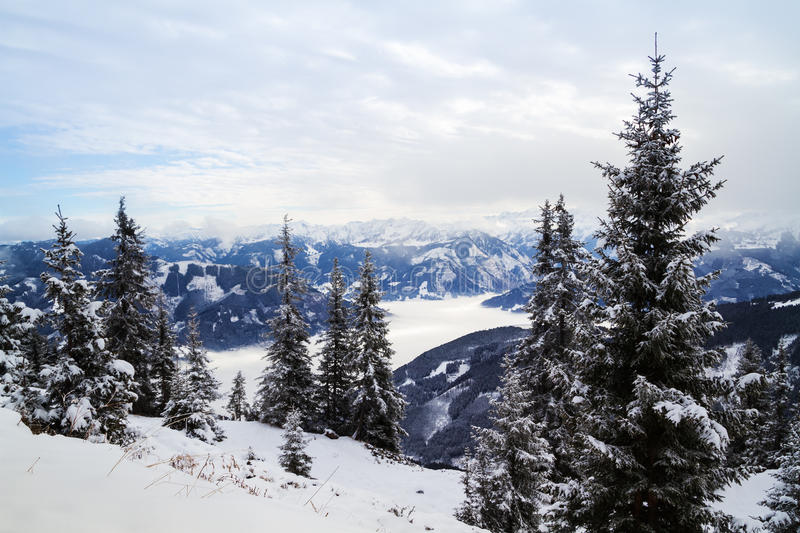 Winter mountain panorama of Zell am See royalty free stock photos