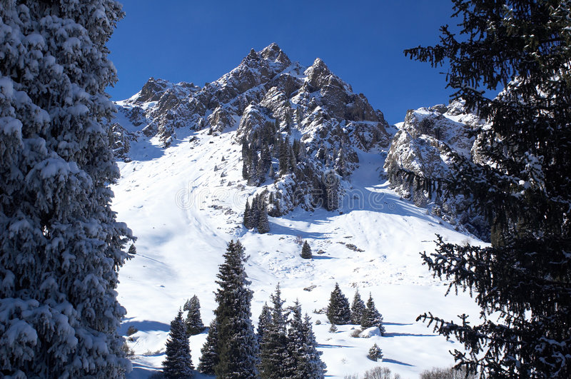 Download Winter mountain peak stock image. Image of angle, blue - 1720249