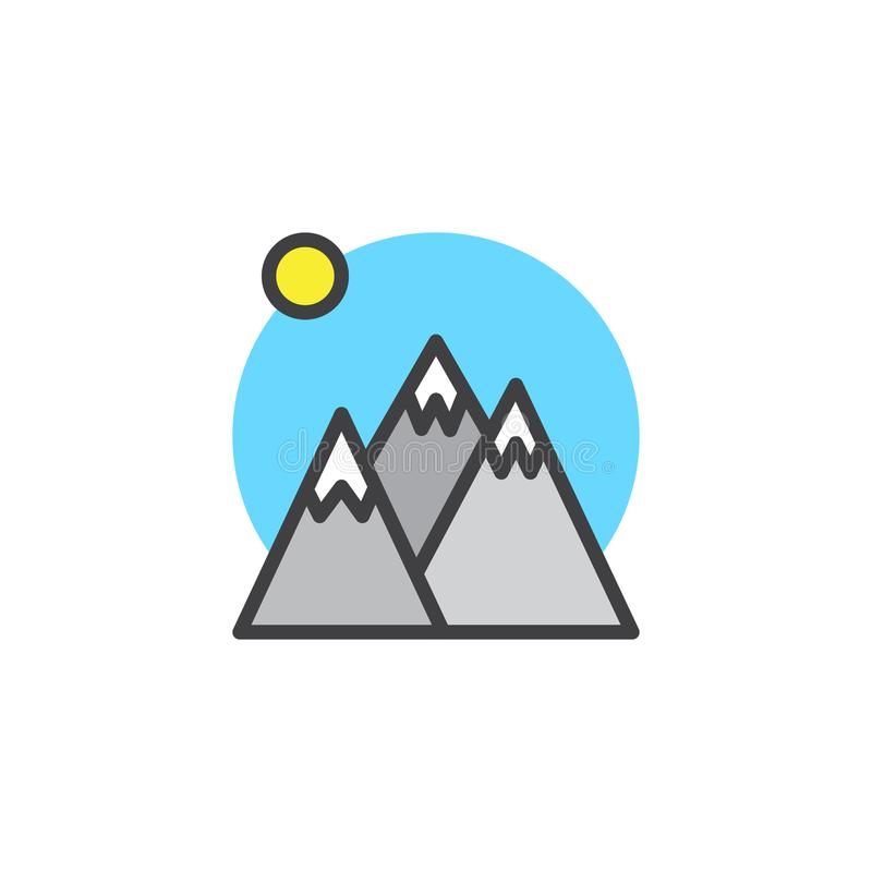 Winter mountain peaks and sun filled outline icon stock illustration