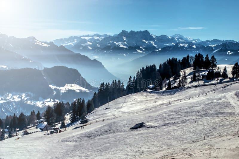 Winter mountain ski slope royalty free stock photo